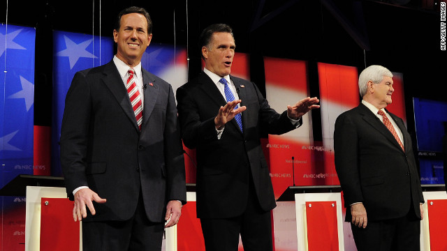 Republican presidential hopefuls Rick Santorum, Mitt Romney and Newt Gingrich at the Republican debate in Florida.