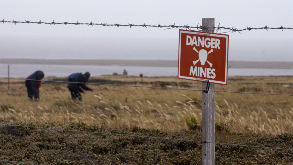 Outside Stanley, the Sapper's Hill minefield is being slowly cleared of mines by a private contractor BACTEC. 113 minefields have been identified containing some 13,000 mines.