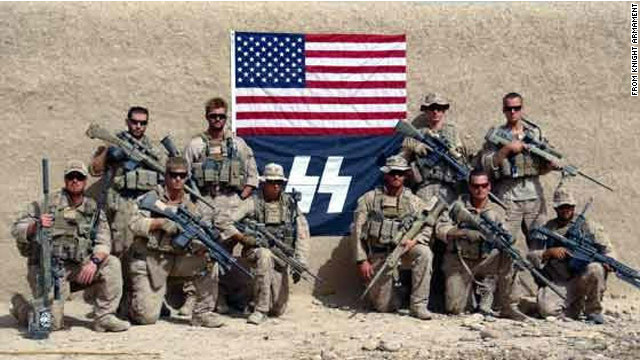 "Marine Snipers posed with the ""SS"" symbol in Afghanistan in 2010."