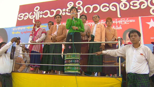 Aung San Suu Kyi on the campaign trail
