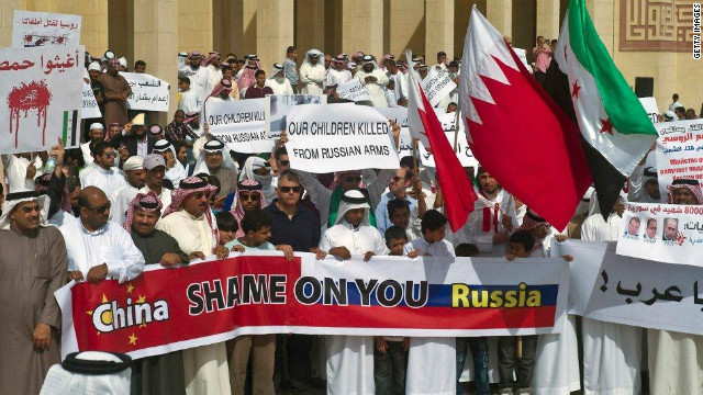 Syrian protesters vent anger on Russia