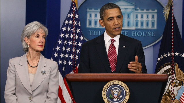 "President Obama and HHS Secretary Kathleen Sebelius announce an ""accommodation"" on the contraception coverage issue."