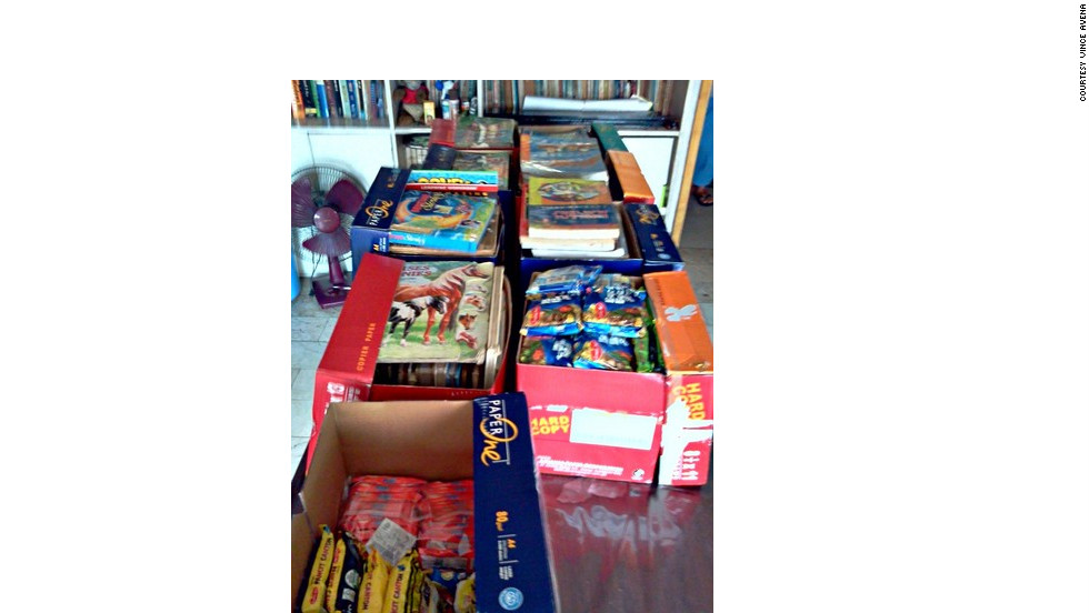 "Before leaving for the trip, the members of Operation VALENTINES gathered supplies, including 170 books. ""We also got school supplies for the children; something to help them pass the time with and get their young minds away from the loss and pain, and focus on something more productive, which is learning,"" Avena said."