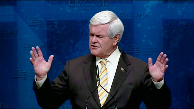 Newt Gingrich speaks before the Conservative Political Action Committee in Washington.