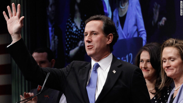 Rick Santorum on stage at the Conservative Political Action Conference (CPAC) in Washington