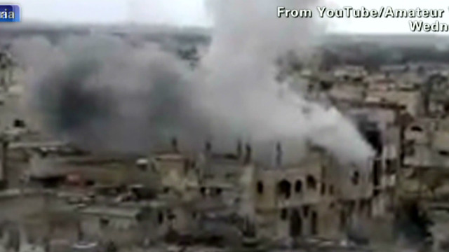 Before/after views show Homs devastation