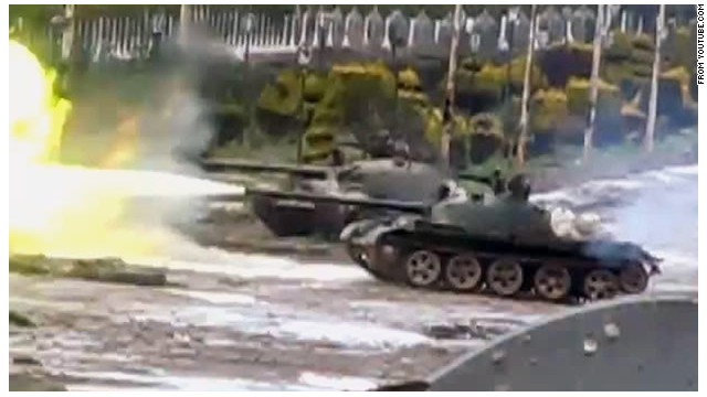 video shows tanks in the Homs neighborhood of Baba Amr. Disclaimer: CNN cannot verify the authenticity of this video.