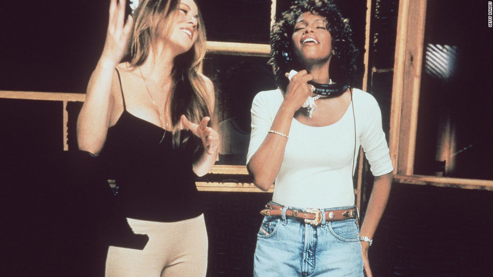 "Mariah Carey, left, and Houston record the song ""When You Believe,"" for the soundtrack of Dreamworks' drama ""The Prince Of Egypt"" in November 1998."