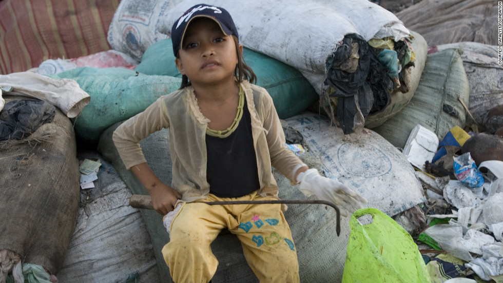 What the children eat and what they wear is often what they get from the trash.