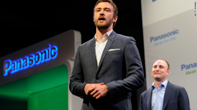 Performer Justin Timberlake, left, and Myspace CEO Tim Vanderook announce Myspace TV at CES 2012 in January.