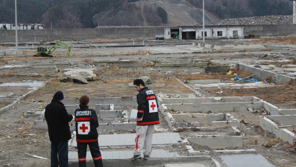 In Otsuchi, one of the worst-hit towns, much of the debris has now been cleared, with only the foundations left of many of the houses which were destroyed by the tsunami. The government has still not decided what should be done with this area.