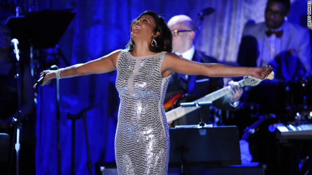 Singer Whitney Houston performs at the 2011 Pre-GRAMMY Gala and Salute To Industry Icons Honoring David Geffen.