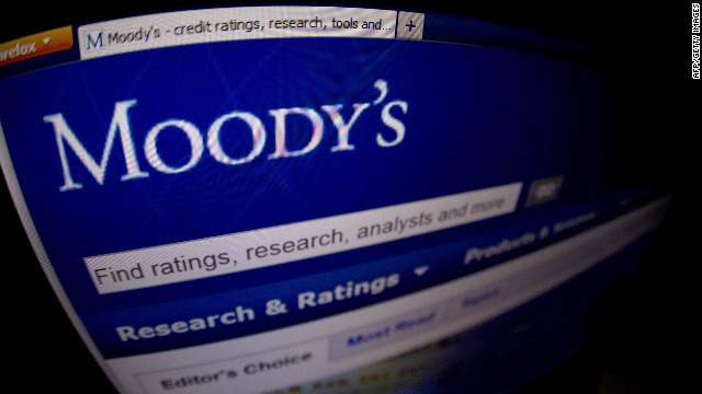 This picture taken on January 17, 2012 shows a close-up of the opening page of the ratings agency Moody's website.