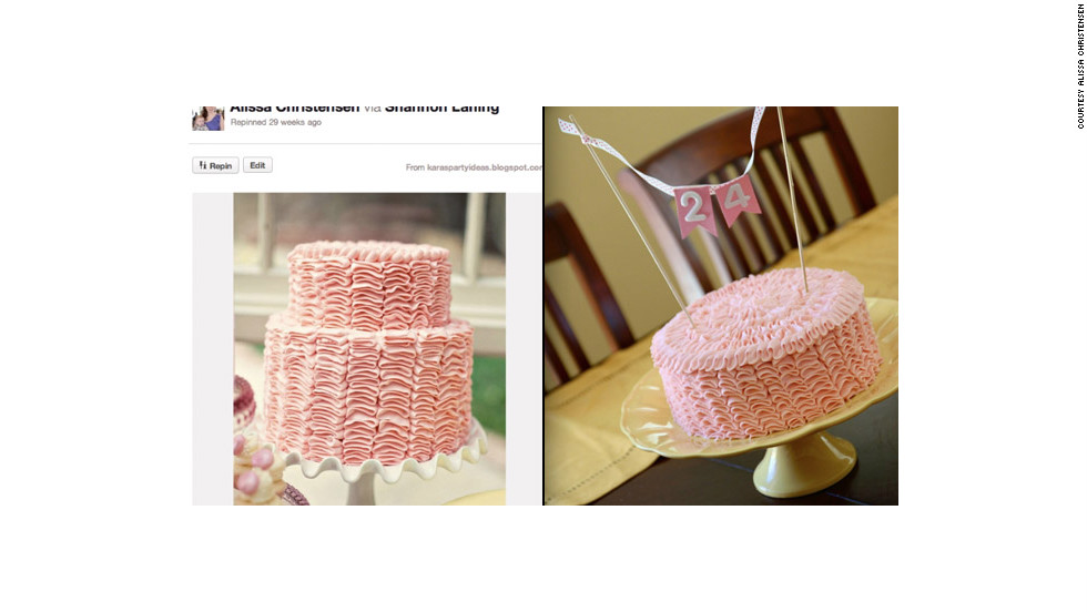 "Christensen creates plenty of Pinterest-inspired items for her son -- but occasionally does a little something for herself. This gorgeous <a href=""http://ireport.cnn.com/docs/DOC-743625"">pink ruffle cake</a>, prompted by a technique she learned via Pinterest, was for her 24th birthday."