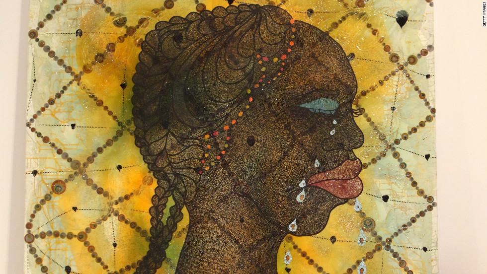 "Artist Chris Ofili was born in Manchetser, England to Nigerian parents. His work has drawn inspiration from a research trip to Zimbabwe. He is a former winner of Britain's prestigious Turner Prize for art, and his works include ""No Woman, No Cry,"" pictured."
