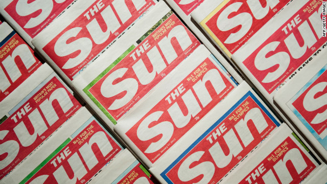An arrangement of copies of The Sun newspaper front pages on February 13, 2012