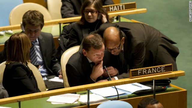 U.N. French delegation listens during a report by the UN High Commissioner for Human Rights regarding Syria February 13, 2012.