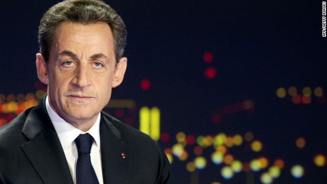 French President Nicolas Sarkozy announces his re-election bid on French television on February 15, 2012.
