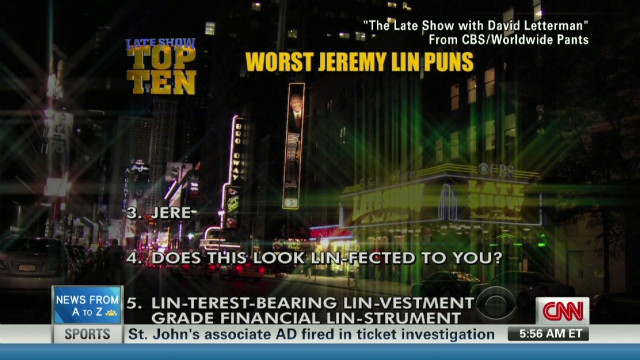 Letterman lists worst Lin puns