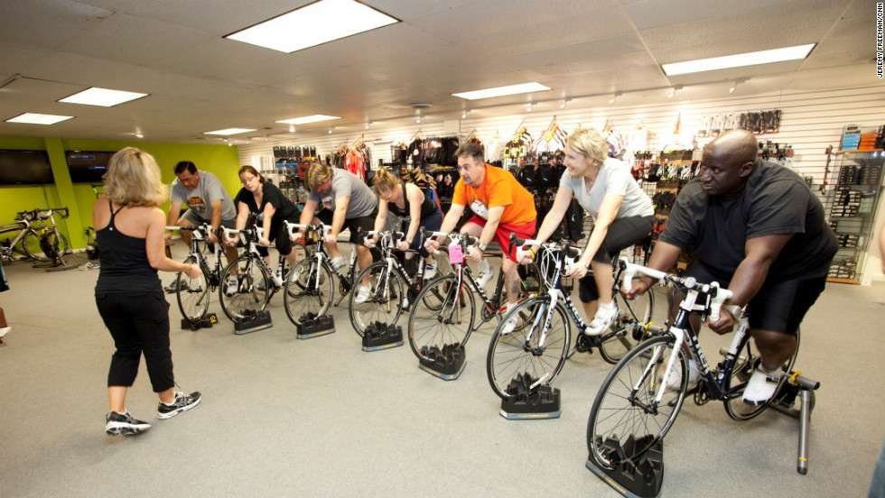 Learning how to use a road bike with coach Laura Cozik at Atlanta Cycling in Midtown Atlanta