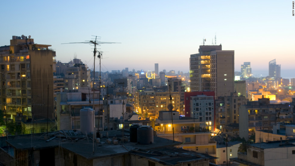 View of Beirut at dusk from the district of Gemmayzeh, taken in June 2009. The World Health Organization recommends 12 sq/m of green space per capita in urban areas. It estimates Beirut has only 0.8 sq/m per person.