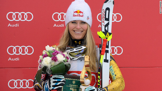Lindsey Vonn finished third at Saturday's race in Sochi but it was enough to clinch the World Cup downhill title