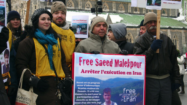 Supporters demonstrate in January for the release of Saeed Malekpour in Montreal, Quebec.