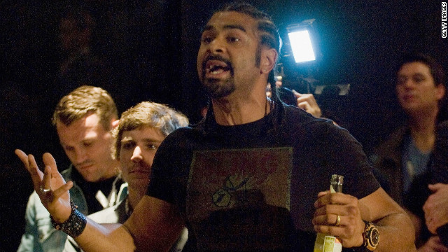 Former WBA heavyweight champion David Haye argues with Dereck Chisora moments before pair brawled in Munich.