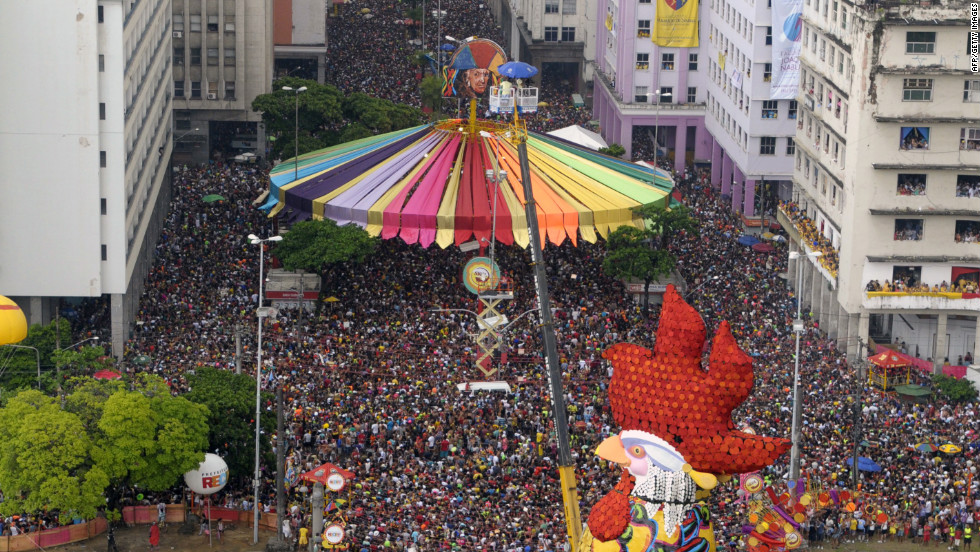 Revelers fill the street in Recife, Brazil, on Saturday.