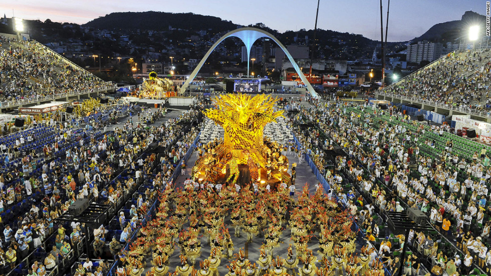 Carnival revelers perform at the Sambadrome in Rio de Janeiro on Monday.