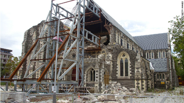 Christchurch Cathedral remains in ruins after it was badly damaged during the February 22, 2011 earthquake.