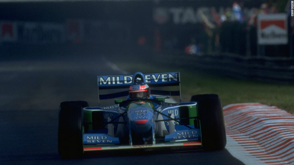 Schumacher became drivers' champion for the first time at Benetton in 1994, before retaining his crown with the team in 1995.