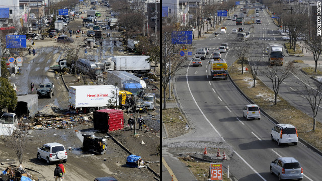 Image from the town of Tagajo in Miyagi prefecture contrasts the post-disaster chaos with the same scene a year later.