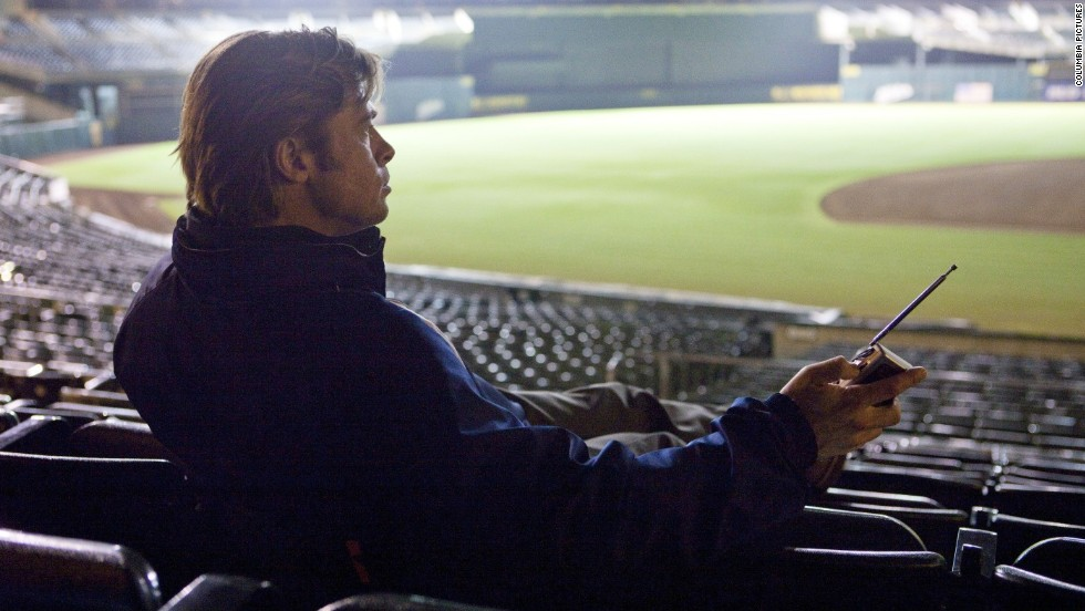 "Brad Pitt plays Oakland A's General Manager Billy Beane in ""Moneyball,"" a film based on the true story of Beane's creative use of computer-generated analysis to build a baseball team on a budget."