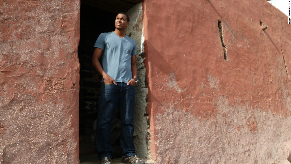 Inside Africa's Errol Barnett looking out through the 'door-of-no-return'.