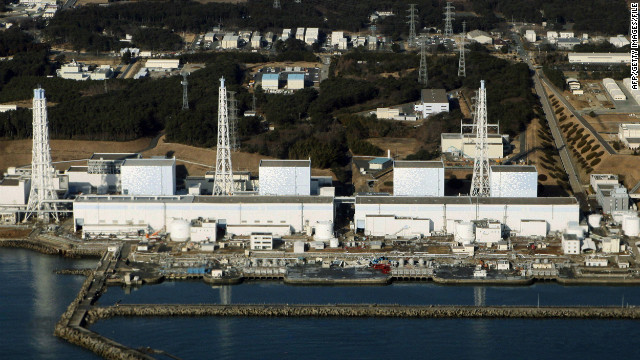 An aerial view shows the quake-damaged Fukushima nuclear power plant on March 12, 2011.