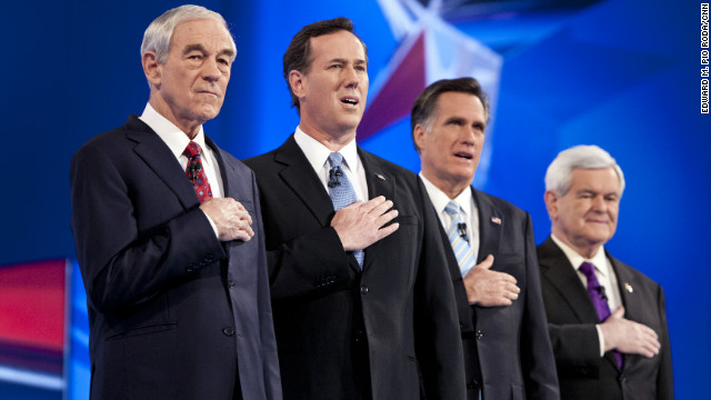 Ron Paul, Rick Santorum, Mitt Romney and Newt Gingrich, shown at a debate in Mesa, Arizona, last month, are shifting south.
