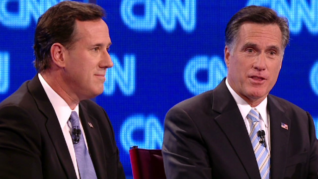Santorum, Romney spar over taxes, debt
