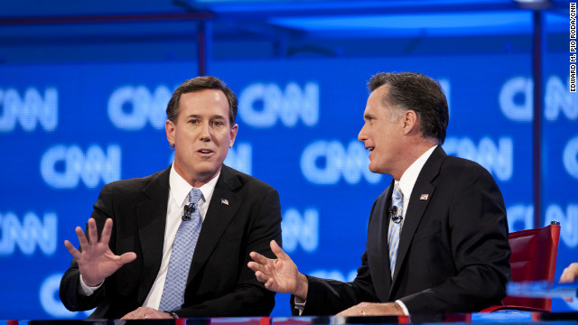 Rick Santorum and Mitt Romney spar during the CNN GOP debate in Arizona.