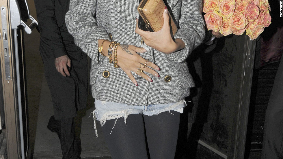 Rihanna leaves a restaurant in London.