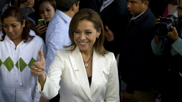 Mexican presidential candidate Josefina Vazquez Mota for the National Action Party (PAN) gives the thumbs up during the party's internal election in Huixquilucan, Mexico, on February 5, 2012. AFP PHOTO/ALFREDO ESTRELLA (Photo credit should read ALFREDO ESTRELLA/AFP/Getty Images)