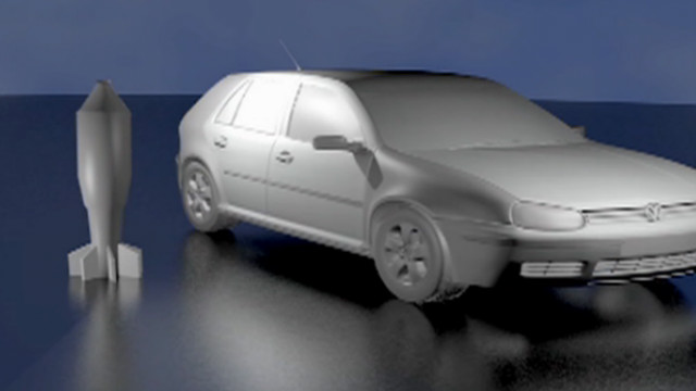 Animation comparing a Tulpan shell and a compact car