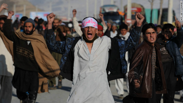 Afghan demonstrators shout anti-US slogans during a protest against the burning of Qurans on February 24, 2012.