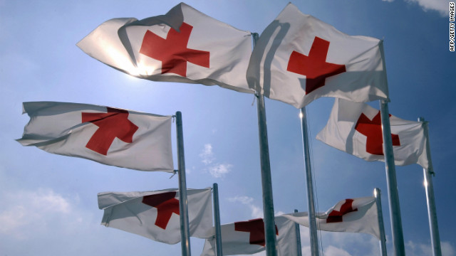 Red Cross flags flutter in the wind on June 26, 2009, about 150km east of Milan.