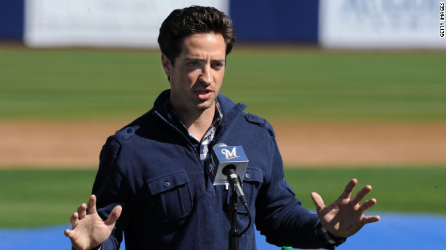 Ryan Braun #8 of the Milwaukee Brewers talks to the media prior to spring workouts at Maryvale Baseball Park on February 24, 2012 in Phoenix, Arizona.