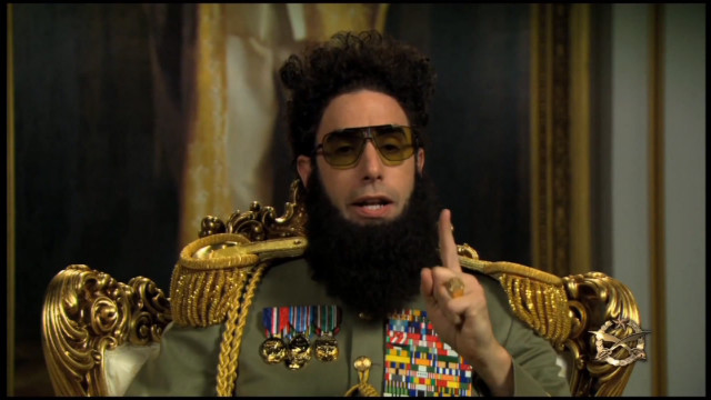 Sacha Baron Cohen warned not to be in character on the red carpet.
