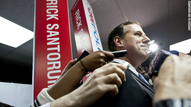 Rick Santorum speaks to reporters after the CNN Republican Presidential Debate in Mesa, Arizona, on February 22.