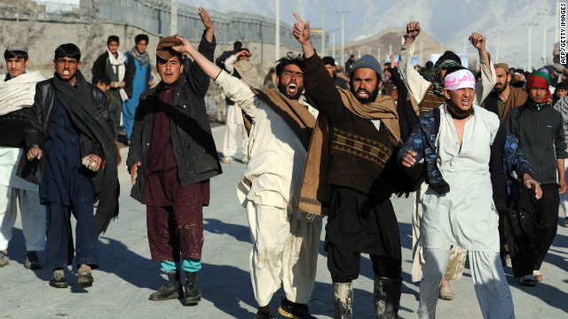 Afghan demonstrators shout anti-U.S. slogans during a recent protest in Kabul against the desecration of Qurans.
