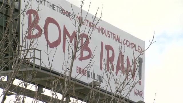 Message behind 'Bomb Iran' billboard