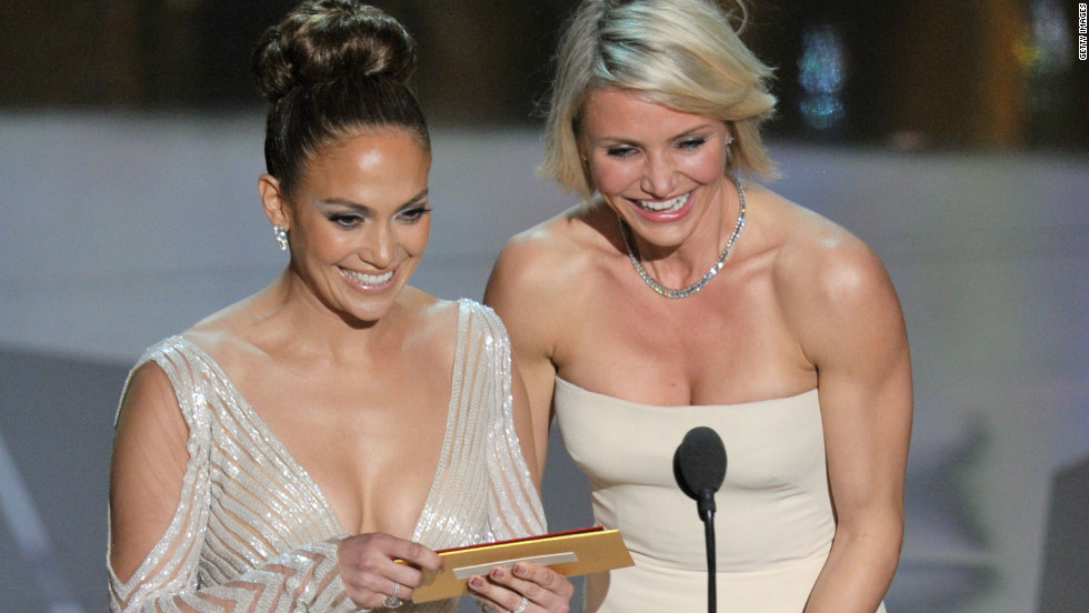 Lopez and actress Cameron Diaz presented the Oscar for makeup at the 84th Annual Academy Awards in 2012.
